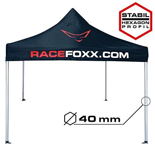 RACEFOXX Paddock Zelt, Pavillon, Partyzelt, Gartenzelt, Motorsport, 3 x 3 m mit 40 mm Standrohr, Wasserdicht