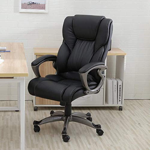 Green Foster Product 5 pcs Executive Leather Office Chair Computer Work Desk High Back (Black)