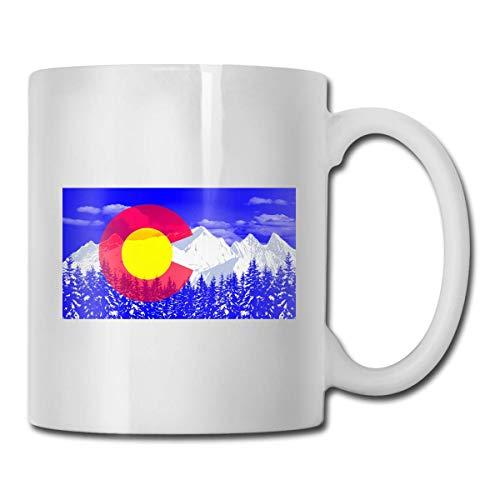Taza con la bandera de Colorado, taza de café para bebidas calientes, taza de gres, taza de café de cerámica, taza de té de 11 onzas, divertida taza de regalo para té y café