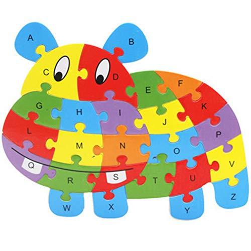 26 stuks houten puzzel dieren alfabet puzzel speelgoed herkenning leren educatieve blokken intelligentie teelt, nijlpaard