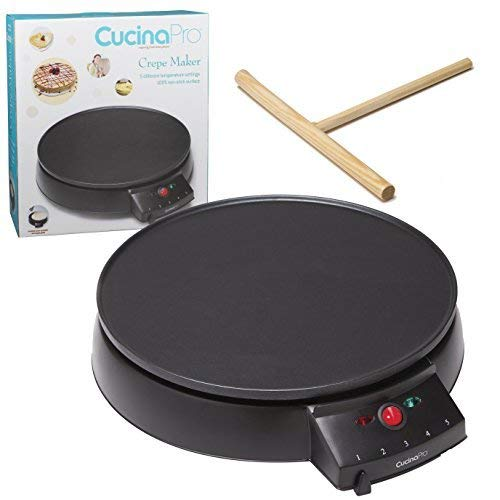 Crepe Maker and Non-Stick 12' Griddle- Electric Crepe Pan with Spreader and Recipes Included- Also use for Blintzes, Eggs, Pancakes and More