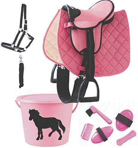 der-pferdeshop Sattel - Set für Shetty/Holzpferd mit Putzeimer und Zubehör gefüllt. (rosa + Putzeimer +Halfterset schwarz)