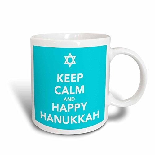 3dRose mug_163810_1 Keep Calm and Happy Hanukkah, Blue Ceramic Mug, 11-Ounce