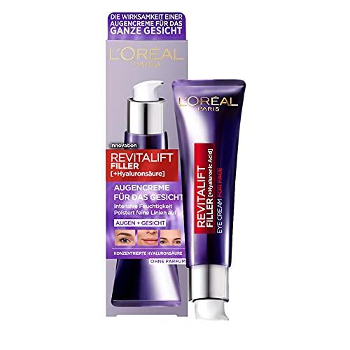 L'Oréal Paris Hyaluron Augenpflege, Anti-Aging Augencreme für das Gesicht, Anti-Falten und...