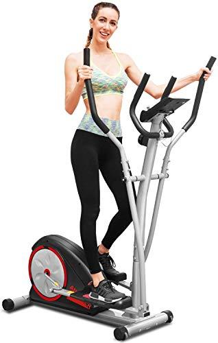 ANCHEER Elíptica de Fitness Elíptica Compacta para Casa con Resistencia de 8 Niveles y Monitor Digital,Volante Magnetrón de 5 kg,con un Manillar de Doble Agarre,Carga Máxima: 150kg