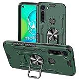 FANFO® Standfunktion Hülle kompatibel mit Motorola Moto G8 Power Tasche mit 360° Drehring Ständer [Kann Bier öffnen][Arbeiten mit magnetischer Autohalterung], Grün