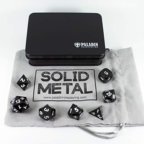 Black Metal Dice - Full Polyhedral Set in Presentation Case