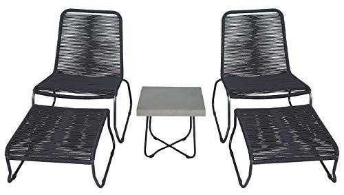 osoltus Retro Sessel Love Seat Set mit Hocker und Tisch