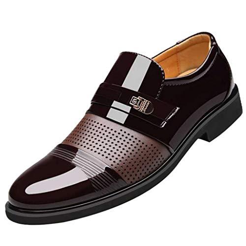 Briskorry lederschuhe herren bequeme business schuhe Mode Männer Business Lederschuhe Beiläufig Komfortabel Schuhe anziehen Männliche Anzugsschuhe,Braun