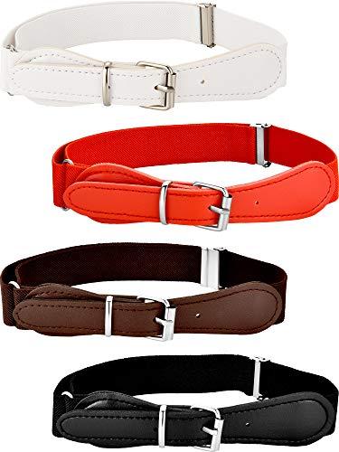 4 Piezas de Cinturón Elástico Ajustable de Niños con Cierre de Cuero para Niñas y Niños, Colores Variados (Conjunto de Colores 1)