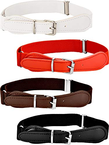 Tatuo 4 Pieces Kids Adjustable Elastic Belt with Leather Closure for Girls and Boys, Assorted Color (Color Set 1)