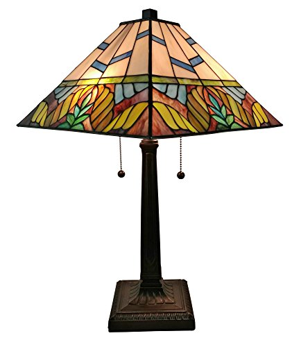 """Tiffany Style Table Lamp Banker Mission 22"""" Tall Stained Glass Tan Blue Brown Yellow Green Floral Flower Vintage Antique Light Décor Living Bedroom Handmade Gift AM304TL14 Amora Lighting"""