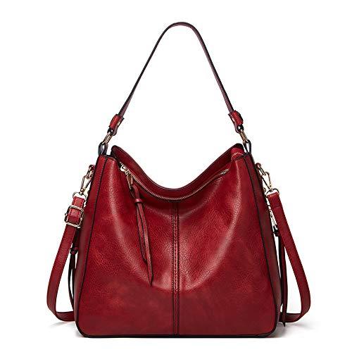 LINJIANG Moda Retro Bolso De Mujer Hombro Diagonal Bolso De Mano Tendencia Todo Fósforo Bolsa De Transporte Rojo Vino