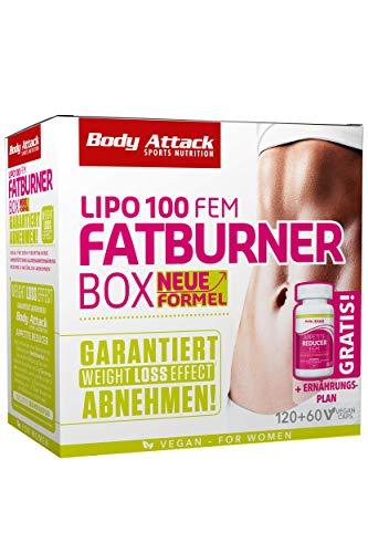 Body Attack LIPO 100 Fatburner Box FEM vegan mit LIPO 100 FEM & Appetite Reducer für schnelles Abnehmen ohne Diät & fördert den Fett-Stoffwechsel mit Lipocholin, inkl. Ernährungsplan, Made in Germany