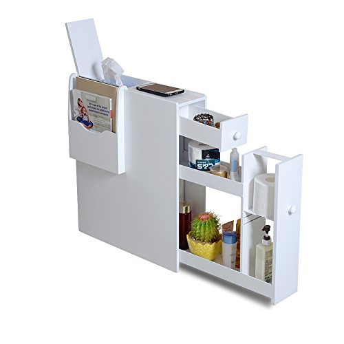 Organizedlife Slim Bathroom Storage Cabinet No Assembly Required,Narrow Toilet Paper Storage Free Standing with Drawers and Magazine Holder,White