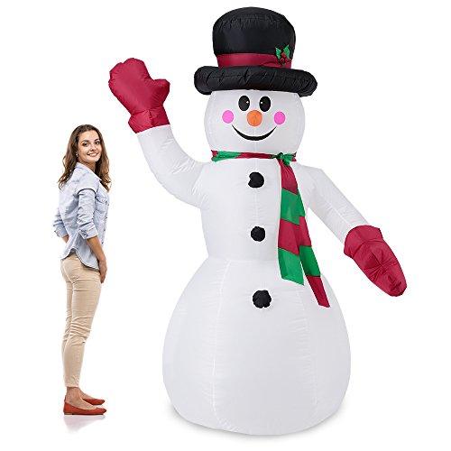 [en.casa] Pupazzo di neve gigante gonfiabile 240cm con 4 LED Uso interno e esterno