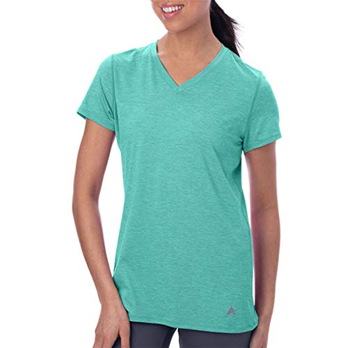 Arctic Cool Women's V-Neck Instant Cooling Moisture Wicking Performance UPF 50+ Short Sleeve Shirt | Lightweight Breathable Top for Running, Workout, Exercise, Yoga, Fishing, Fresh Mint Twist, XL