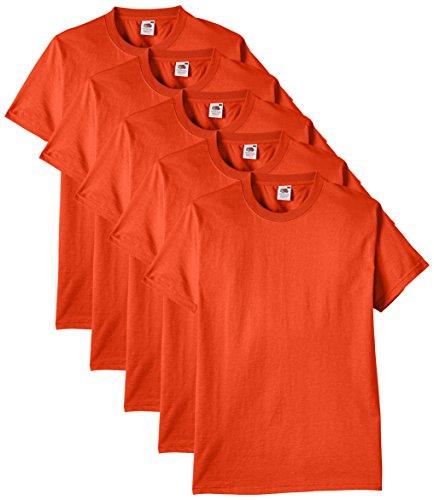 Fruit of the Loom Herren Regular Fit T-Shirt Heavy Cotton Tee Shirt 5 pack, Orange (Orange), M