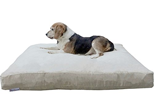 Dogbed4less Medium Memory Foam Dog Bed Pillow with Orthopedic Comfort, Waterproof Liner and Khaki Microsuede Pet Bed Cover 37X27 Inches