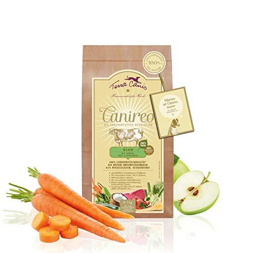 Terra Canis Canireo - Die Trockenfutter Revolution; Rind, Gemüse, Obst & Kokosmehl in 100%iger Lebensmittelqualität Aller Rohstoffe; 64% Frischfleisch, Getreide- & glutenfrei, 1kg Premium Hundefutter
