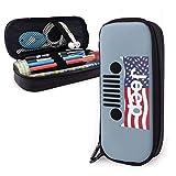 Jeep American Flag Logo Leder Federmäppchen für Erwachsene und Studenten, Federmäppchen Make-up-Tasche für Geldbörse Reißverschlusstasche für Bleistifte Kugelschreiber Marker