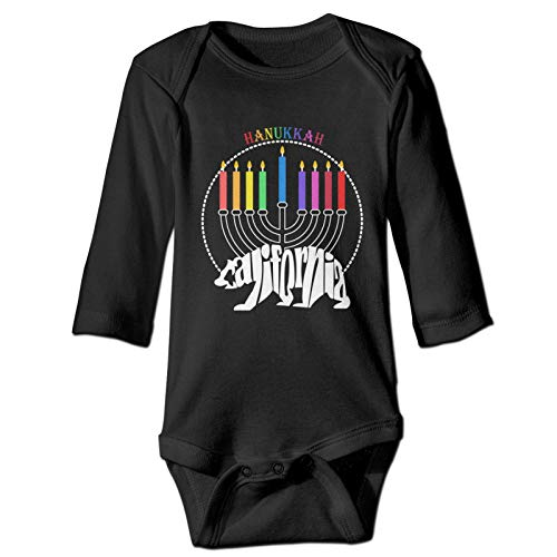 AEMAPE Infant Baby Boys Girl Long Sleeve Romper 3D Printed Graphics Bodysuit Kids Clothes Outfita Jumpsuit Happy Hanukkah California Bear Candle