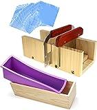 POFET Set di stampi per taglierine in silicone per sapone in legno - 1pc stampo in silicone per sapone rettangolare flessibile con scatola di legno, raschietto ondulato 4x6 pollici per fare saponi