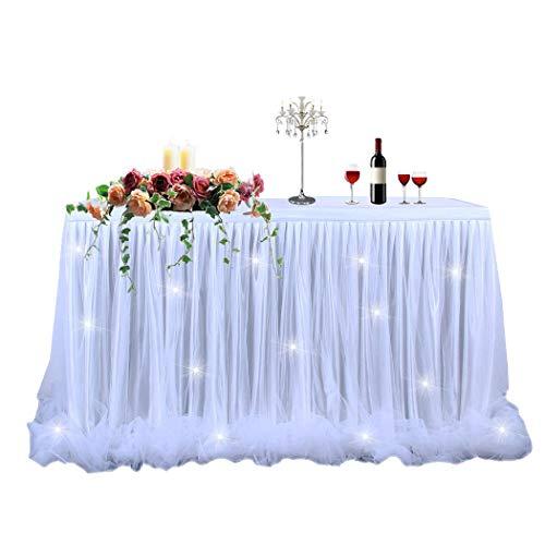 FunPa Tutu Tüll Tischröcke, 6ft Tischrock Tischdecke mit Led Licht Tisch Dekoration Für Rechteckigen Runden Party Hochzeit Geburtstag Baby Dusche Weihnachten Decor