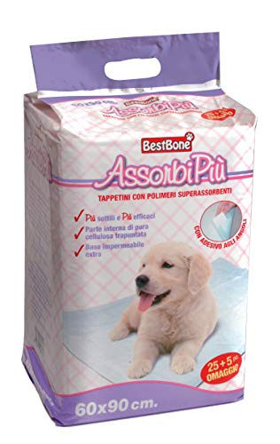 Tappetini igienici super assorbenti per cani Assorbipiù misura 60x90 cm, 30 pezzi