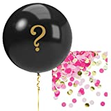 Creative Converting Gender Reveal Huge 36' Black Balloon with Pink & Gold Confetti   Baby Shower, Pregnancy, Girl Surprise   1 Count Balloon Filled with Confetti and Question Mark