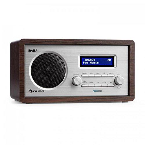 AUNA Harmonica - Digitalradio, DAB+ / UKW-Radiotuner, Radiowecker, Retro, automatische/manuelle Sendersuche, RDS, AUX, Sleep-Timer, Dunkelbraun