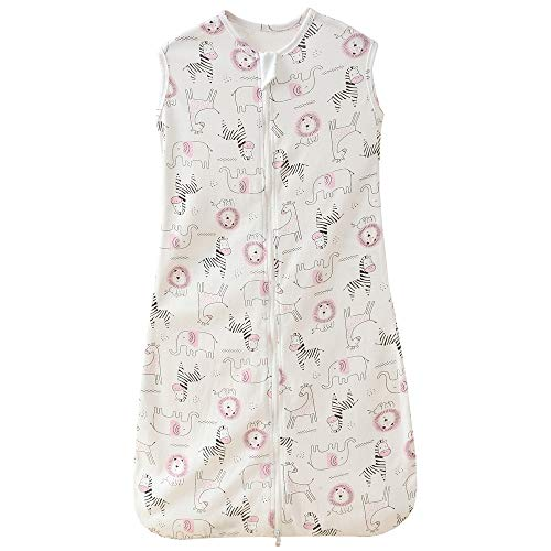 Saco de dormir para bebé, verano, para niña, niña, primavera, recién nacido, algodón, 0,5 tog. (130 cm (3-6 años), diseño de cebra, león y elefante