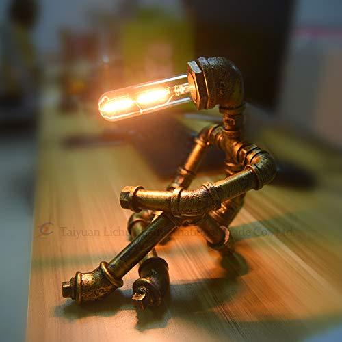 JAHQ Roboter Steampunk Vintage Tischlampe, Retro Industrie Eisen Shisha Tischleuchte für Nachttisch (Ohne Glühbirne)