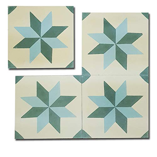 Crafted Tiles - Ref:003 - Baldosas Hidráulicas Artesanales de Cemento y Marmolina. 1 m2 (25 piezas) de Mosaico Vintage Azulejos aptos para Cocina, Baño y Exteriores. Tamaño 20 x 20 x 1.6cm