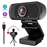 1080P Webcam,Live Streaming Web Camera with Stereo Microphone, Desktop or Laptop USB Webcam