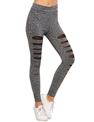 SweatyRocks Legging Women Grey Knit Mesh Insert Ripped Tights Yoga Slim Pants L