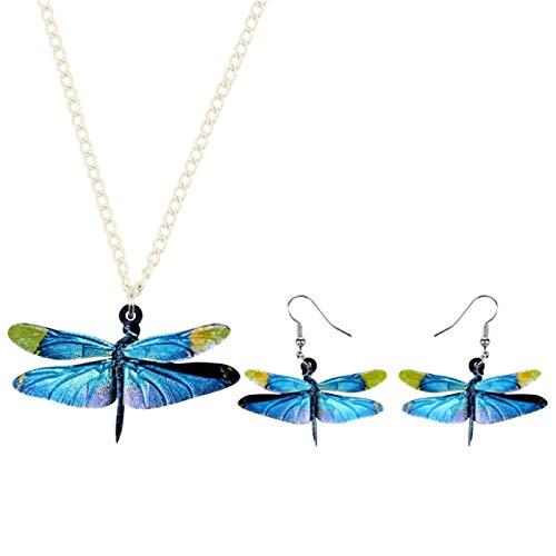 ZWwei Pendientes de acrílico con diseño de libélula azul de insectos, collar y collar de animales para mujeres, niñas, adolescentes, regalo de fiesta (color: multicolor)