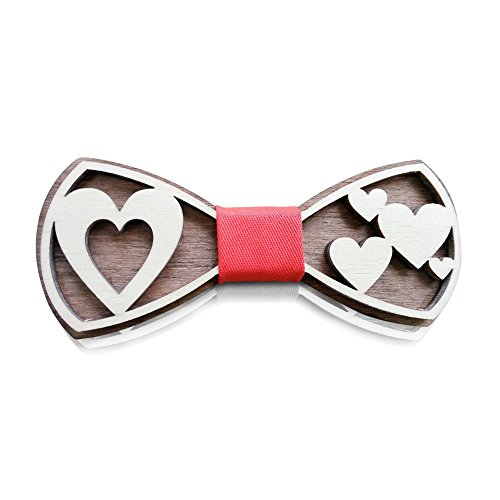 HatynkaUA Wooden Bow Tie - 3D Unique Design Holiday Wedding Wood Bowtie - Perfect Wooden Mens Necktie + Gift Box Quality (Love)