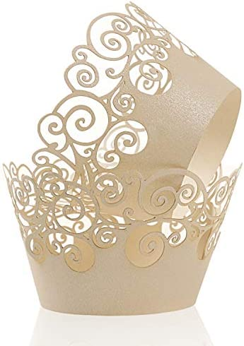 Cupcake Wrappers KPOSIYA 100 Pack Cupcake Wraps Filigree Artistic Bake Cake Paper Cup Little product image