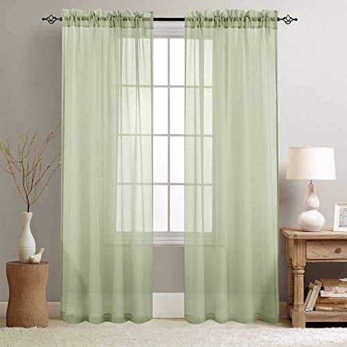 jinchan Rod Pocket Sheer Curtains for Living Room Curtain Sheers for Bedroom 90 Inches Long Voile Window Curtain Panels 2 Panels Sage