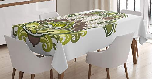 ABAKUHAUS Hamsa Nappe, Thème Naturel Harmony, Linge de Table Rectangulaire pour Salle à Manger Décor de Cuisine, 140 cm x 170 cm, Marron, Blanc, Vert