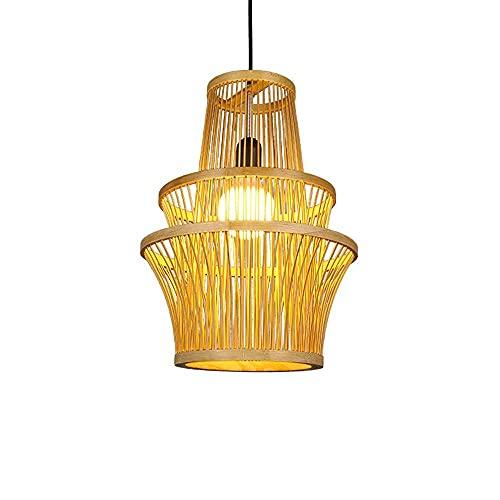 XCY Iluminación Decorativa , Candelabro de Ratán de Bambú Tejido a Mano Creativo Lámparas Decorativas para el Hogar de Estilo Rural Iluminación de un Solo Cabezal Lámparas de Bajo Consumo Adecuado pa