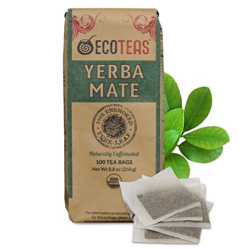 ECOTEAS - Unsmoked Yerba Mate Tea - Yerba Mate Tea Bags - Yerba Mate Tea - Detox Tea - Hi Caf Tea - Organic Tea - Organic Detox Tea - Yerba Mate Unsmoked - Yerba Mate - 100 Tea Bags, 8.8 oz