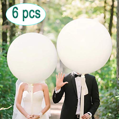 Greengoal 36' Latex Balloon White (Premium Helium Quality), Thicken Round Giant Balloons for Birthdays Festivals Wedding & Event Decorations (6 Pack)