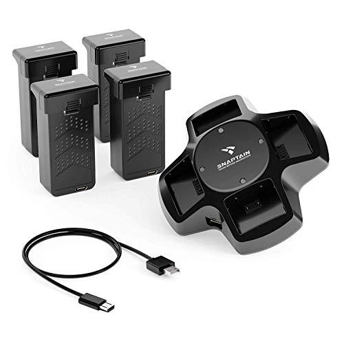 SNAPTAIN Batterie-Kits für SP600 Drohne, Ersatzakkus für SP600 Drohne, 4-in-1-Batterieladestation mit 4 modularen wiederaufladbaren Li-Po-Batterien