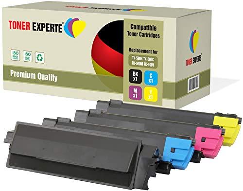 Pack de 4 TONER EXPERTE® Compatibles TK-590 Cartuchos de Tóner Láser para Kyocera ECOSYS P6026cdn M6026cdn M6026cidn M6526cdn M6526cidn FS-C5250DN FS-C2026MFP FS-C2126MFP FS-C2526MFP FS-C2626MFP