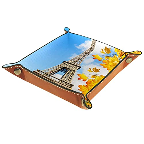 Bandeja de Cuero Torre Eiffel Soleado Otoño Paris Francia Almacenamiento Bandeja Organizador Bandeja de Almacenamiento Multifunción de Piel para Relojes,Llaves,Teléfono,Monedas