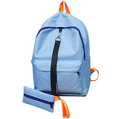 baratos y buenos Bolsa de ocio monocromática de dos partes y mochila de viaje para adolescentes, billetera de lona … calidad