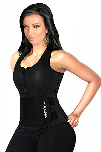 YIANNA Sweat Neoprene Sauna Suit - Waist Training Vest - Sauna Tank Top Vest with Adjustable Waist Trimmer/Shaper Trainer Belt for Weight Loss Plus Size Up to 5XL, YA8012-Black-L