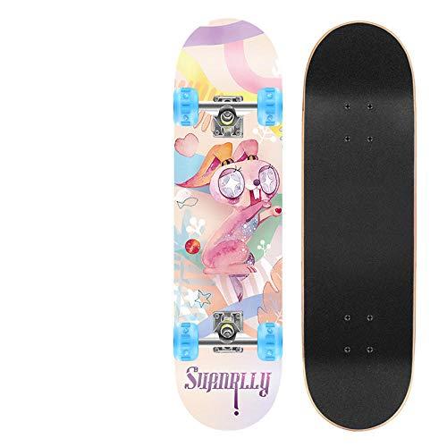 ZASX Tabla Completa de Skate de 31 x 8 Pulgadas, con rodamientos de Bolas ABEC-7,Conejo rosaMadera de Arce de 8 Capas Adecuada para niños, Adolescentes y Adultos, con un Peso de 150 kg.